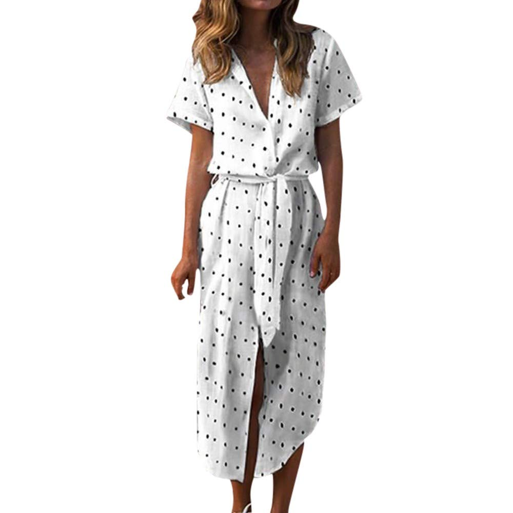 Cianjue Women V-Neck Polka Dot Print Boho Long Dress with Casual Button Short Sleeve Dress White