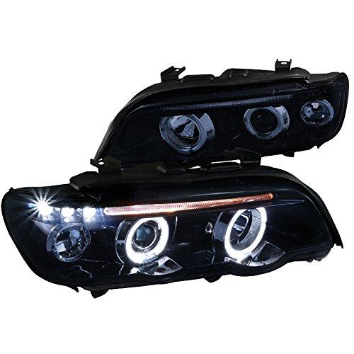 BMW E53 X 5 Dual Halo LED Glossy Black Projector Headlights Left+Right Smoke Lens