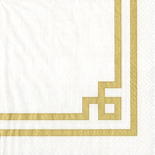 (Entertaining with Caspari Cocktail Napkin, Rive Gauche Gold and White, 20-Pack)