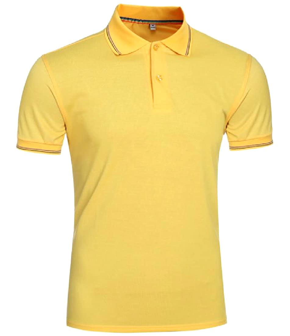 YUNY Men Slim Casual Basic Style Down Tops Stylish Jersey Polo Yellow M