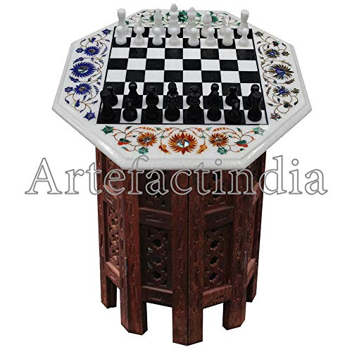 Artefactindia Classic White Marble Pietra Dura Chess Game Unique Indian Inlay Art Best for Indoor Game 15