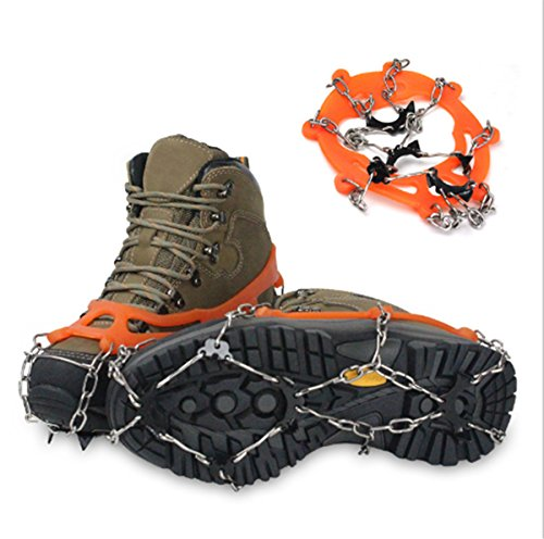 CHRISTYZHANG 8 Teeth Ice Claws Crampons Non-slip Shoes Cover Stainless Steel Chain Outdoor Ski Ice Snow Shoes Grips Traction Cleats Grippers Crampons for Outdoor Walking Hiking - One Pair by CHRISTYZHANG