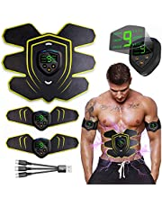 Abs Trainer, EMS Muscle Stimulator,Abdominal Toning USB Charging, Muscle Toner for Men and Women Abdomen/Leg/Arm Sports Fitness, Extra 10 Gel Pads