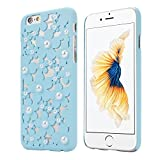 OVERMAL Sweet Girl ,Only for iPhone 6S case ,4.7 Inch Case,Hollow Out Pearl Flowers Back Case Cover Skin For iPhone 6S (Blue)