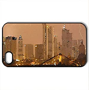 Frankfurt Germany - Case Cover for iPhone 4 and 4s (Modern Series, Watercolor style, Black)