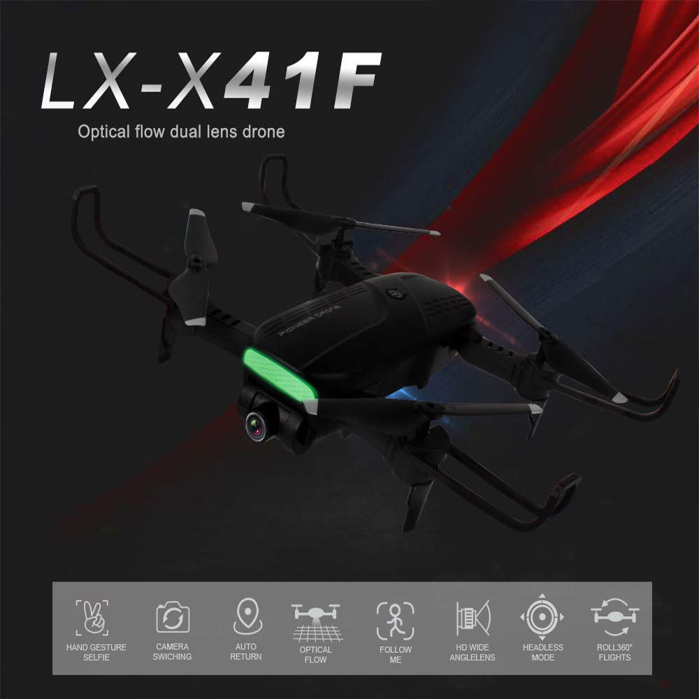 MOZATE LH-X41F 2.4Ghz 4CH Attitude Hold WiFi 720P Optical Flow Dual Camera RC Quadcopter Drone (Black) by MOZATE (Image #2)