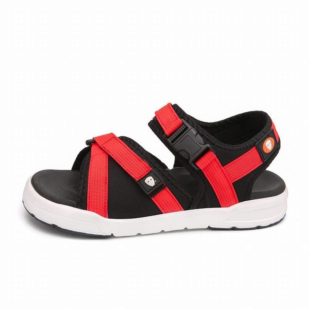 FuweiEncore Sandalen Trend Allgleiches Männer Schuhe Atmungsaktiv Lässig Offene Spitze Strand Schuhe (Farbe   Rot, Größe   43)