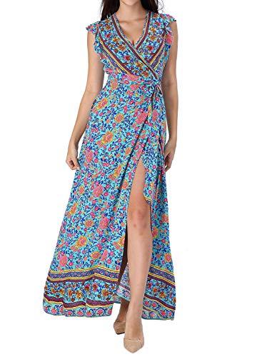 VFSHOW Womens Summer Boho Light Blue Floral Ruffle Sleeve V Neck Pockets Split Casual Beach Party Wrap Maxi Dress G3008 FLW M