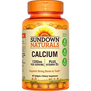 Sundown Naturals Calcium 1200 Plus Vitamin D3 1000 IU, 60 Liquid Filled Softgels