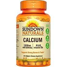 Sundown Naturals Calcium 1200 Plus Vitamin D3 1000 IU, 60 Liquid Filled Softgels