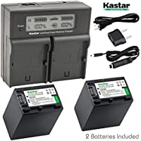 Kastar LCD Dual Fast Charger & 2x Battery for Sony NP-FH100 DCR-DVD92 DVD405 DVD408 DVD610 DVD620E DVD650E HC48 HC96 SR45 SR47 SR65 SR67 SR85 SX40 HDR-CX7 CX12 CX520 HC7 HC9 UX20 HDR-SR10 SR12 XR500E