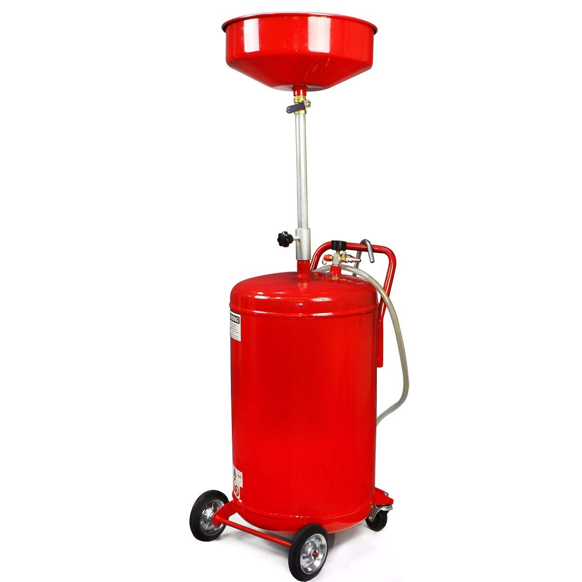 XtremepowerUS 20 Gallon Portable Waste Oil Drain Tank Air Operated Drainage Adjustable Funnel Height with Wheel, Red by XtremepowerUS (Image #1)