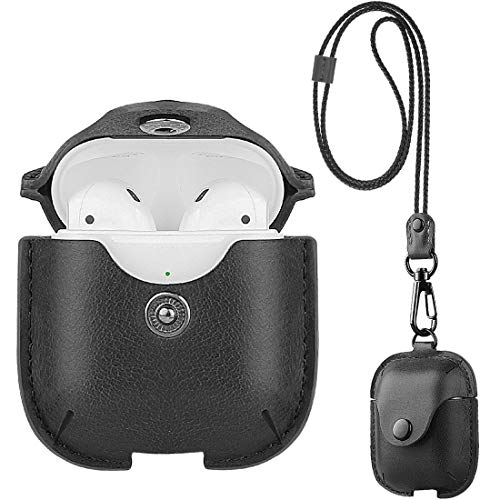 UTOPER AirPods Leather Case with Neck Lanyard & Buckle for Apple Airpods 2 & 1 Portable Leather Cover Case for New AirPods Protective Shockproof Support Wireless Charging (Black)