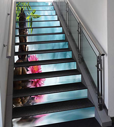 Stair Stickers Wall Stickers,13 PCS Self-Adhesive,Zen Meditation Decor,Zen Waterlilly Flowers Spa Decor Nature Feng Shui Natural Calm Water Floral,Stair Riser Decal for Living Room, Hall, Kids Room D by SCOCICI