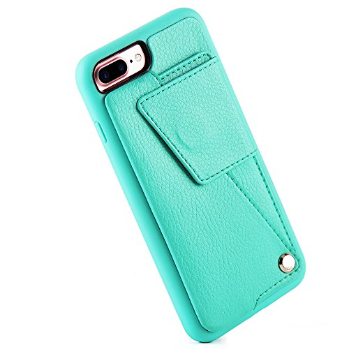 Price comparison product image iPhone 7 Plus Wallet Case with ID Credit Card Slot Holder, ZVE Protective iPhone7 Plus Leather Case, Durable Shockproof Cover for Apple iPhone 7 PLUS (2016) - Mint Green