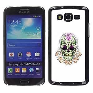 LECELL--Funda protectora / Cubierta / Piel For Samsung Galaxy Grand 2 SM-G7102 SM-G7105 -- Diamond Skull Treasure Gold Death --