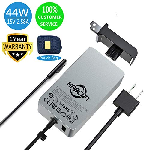 44w Charger for Microsoft Surface Pro 2017,Surface Pro 6,Surface Laptop 2,15V 2.58A Power Supply for Surface Go,Surface Pro 3 Pro 4,Surface Book,Surface Laptop with 6.2Ft Power Cord & a Storage Pouch