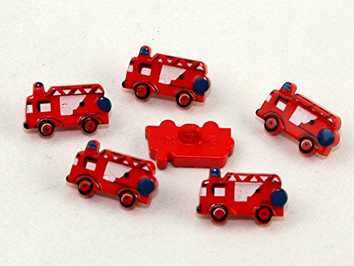 Dill Fire Engine Shape Novelty Buttons - per Pack of 3