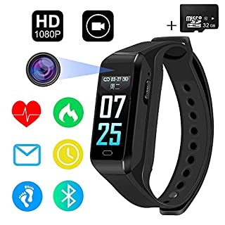 SPY Camera 32GB Full HD 1080P/30fps 720P/60fps Sports Camera Fitness Activity Tracker Watch Smart Bracelet 2 in 1 Mini Hidden Camera with Bluetooth,Heart Rate Monitor,Step Counter, Calorie Counter