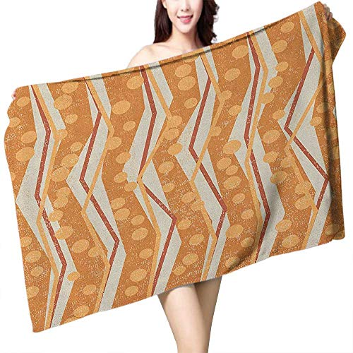 flymeeo Extra Long Bath Towel Burnt Orange Chevron Zigzags Pattern with Stripe and Dots Geometrical W12 xL35 Suitable for bathrooms, Beaches, Parties ()