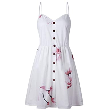 UK Womens Floral Sundress Ladies Summer Floral Beach Cami Top Strappy Midi Dress