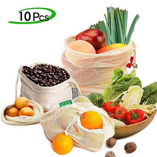 trasporti negozi per alimenti 10 sacchetti riutilizzabili con chiusura a cordoncino frutta in cotone naturale biodegradabile verdure giocattoli cuciture cucite lavabili in lavatrice