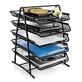 Photo : Heavy Duty 5-Trays Mesh Desk Organizer, Desktop File Holder, Office Supplies Letter Tray, Desktop Storage Rack, Black