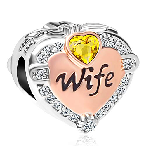 CharmSStory Rose Gold Wife Heart Love Charms Beads for Bracelets & Necklaces (November)