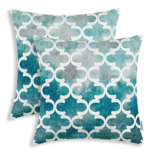 CaliTime Pack of 2 Cozy Fleece Throw Pillow Cases Covers for Couch Bed Sofa, Manual Hand Painted Print Colorful Quatrefoil Geometric, 18 X 18 Inches, Teal