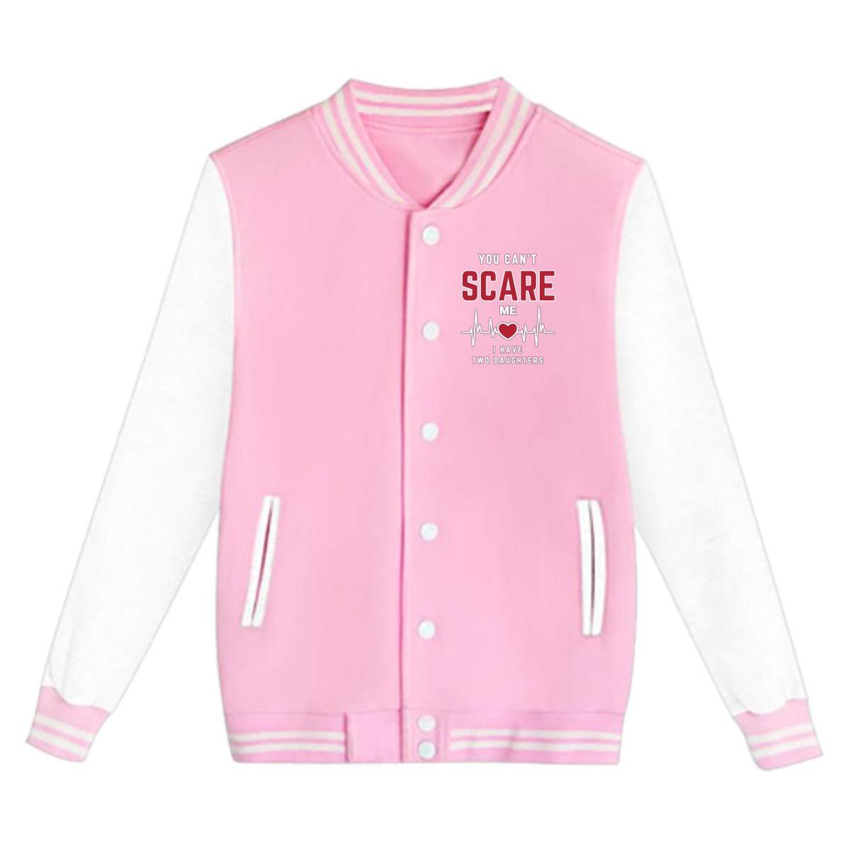 Tina TN You Cant Scare Me I Have Two Daughters Teens Boys Girl Varsity Baseball Jacket Long Sleeve Sport Baseball Uniform Jacket Coat Sweater Black