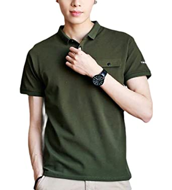 CuteRose Mens Short Sleeve Basic Style Casual Loose Pocket Polo ...