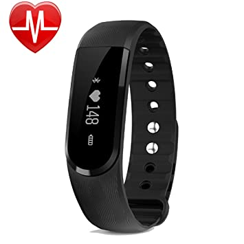 Montre Connectée, GanRiver Bracelet Connecté Cardiofrequencemetre Poignet Smartwatch Fitness Tracker dActivité Cardio Etanche