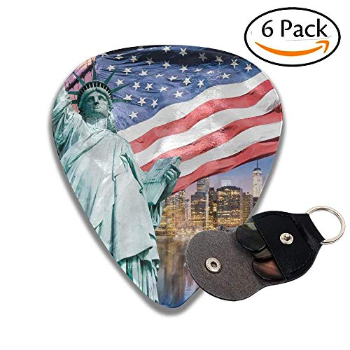 United States USA Touristic Concept Collection Statue Of Liberty NYC Cityscape Flag Stylish Celluloid Guitar Picks Plectrums For Guitar Bass .6 Pack ()
