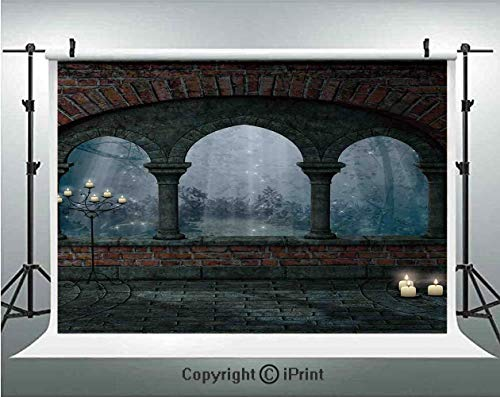 Gothic Decor Photography BackdropsMedieval Castle at Night with Old Arch and Candles Middle Age Misty Image,Birthday Party Background Customized Microfiber Photo Studio Props,7x5ft,Blue Grey Red