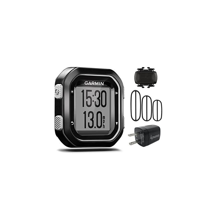 Garmin Edge 25 GPS Cycling Computer 010 03709 20 and Garmin Cadence Sensor 010 12102 00 with extra Wearable4U Wall Charging Adapter Bundle