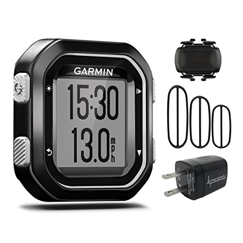 Garmin Edge 25 GPS Cycling Computer 010-03709-20 and Garmin Cadence Sensor 010-12102-00 with extra Wearable4U Wall Charging Adapter Bundle by Wearable4u