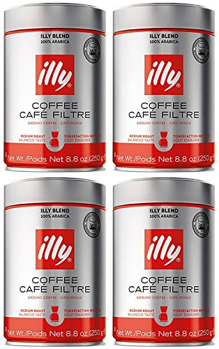 Illy Caffe Normale Drip Medium Roast Ground Coffee 8.8 Oz (Pack of 4) (Best Drip Coffee Beans)