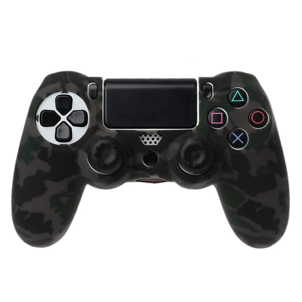 GROOMY Anti-Slip Black Grey Custodia Protettiva in Silicone 2 Joystick cap per 4 Controller PS4