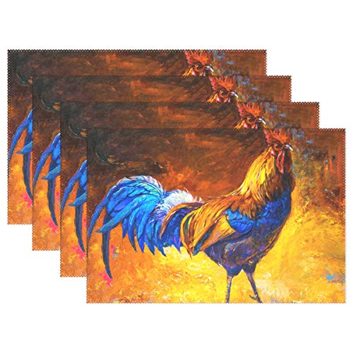 Rooster Oil (Jereee Colorful Oil Painting Cock Rooster Set of 6 Placemats Heat-Resistant Table Mat Washable Stain Resistant Anti-Skid Polyester Place Mats for Kitchen Dining Decoration)