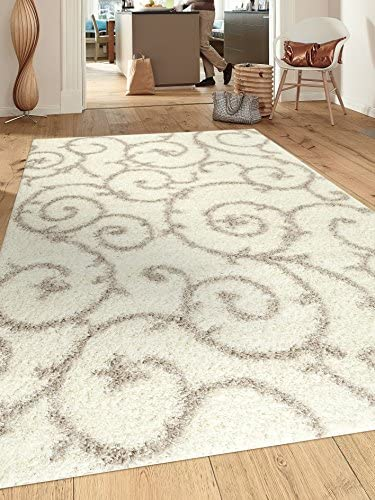 Cozy Contemporary Scroll Cream-White 3 3 X 5 Indoor Shag Area Rug