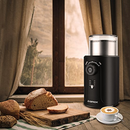 Electric Coffee Bean Grinder with Stainless Steel Blades,Grind Size and Cup Selection, 2.5-Ounce, Black by Aramox (Image #7)