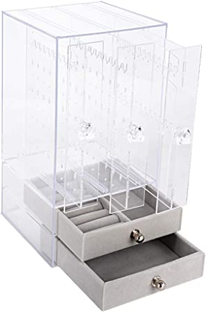 Caja Pendientes Caja Almacenamiento Joyería Transparente de ...