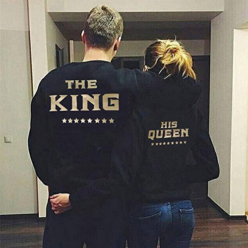 Set Noir King Pullover des Couple et Shirts Pull Homme QUEEN Impression Queen et Queen The His Longues Or Sweat Manches Paire Hoodies King Pieces 2 JWBBU pour Femme 8qEfFwnxF