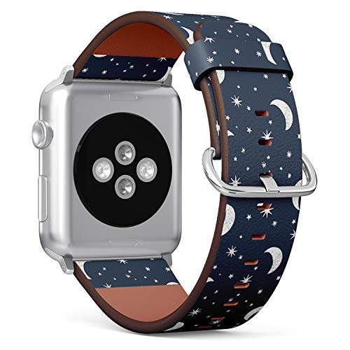 Compatible with Big Apple Watch 42mm & 44mm Leather Watch Wrist Band Strap Bracelet with Stainless Steel Clasp and Adapters (Moon Stars ()