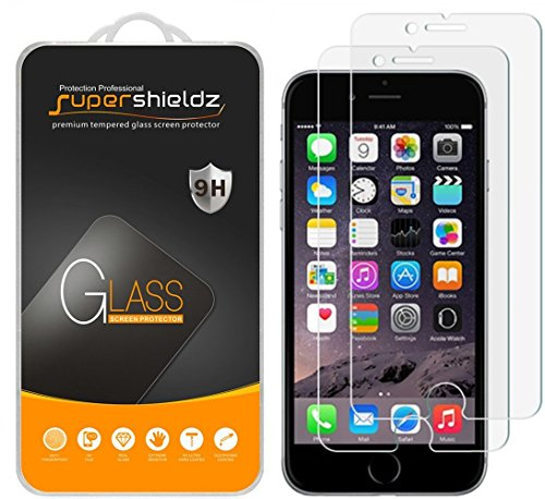 ([2-Pack] Supershieldz for iPhone 6 / 6S Tempered Glass Screen Protector, Anti-Scratch, Bubble Free, Lifetime Replacement)