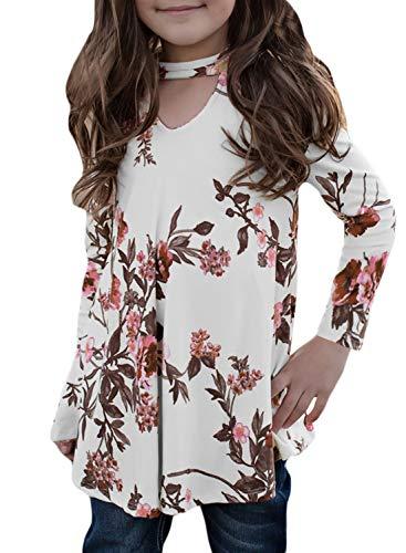 GOSOPIN Girls Floral Tunic Kids A-line Long Sleeve T-Shirt 4-13Y Medium - Blouse Childrens