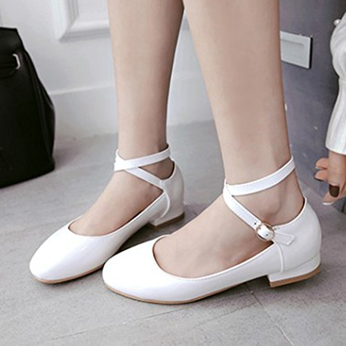 Easemax Womens Comfy Low Cut Round Toe Buckled Dressy Low Heels Ankle Wrap Pumps Shoes White 7rOFF8