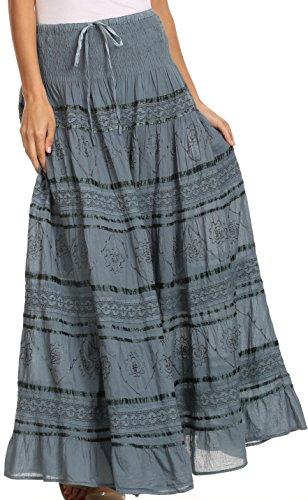 Sakkas 0604 Lace and Ribbon Peasant Boho Skirt - grey - One Size (Skirt Skirt Summer)