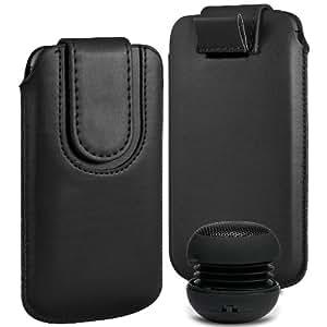 N4U Online Premium PU tirón del cuero del tirón Tab bolsa de la cubierta del caso con el magnética Cierre de correa y mini altavoz portable para Samsung Galaxy Core Plus - Negro