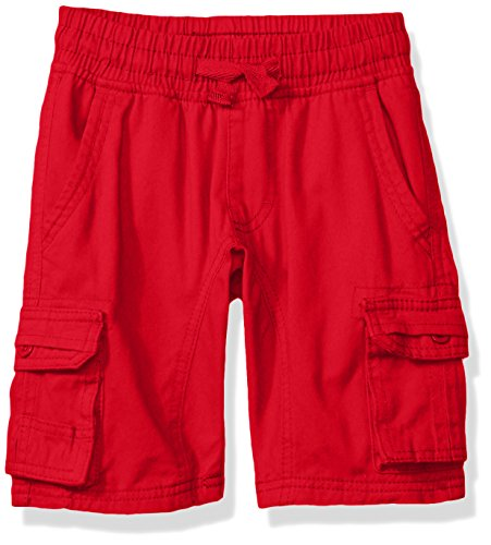 Waist Shorts Elastic Canvas (Southpole Little Boys' Mini Canvas Cargo Jogger Shorts In Basic Solid Colors, Red, Large)